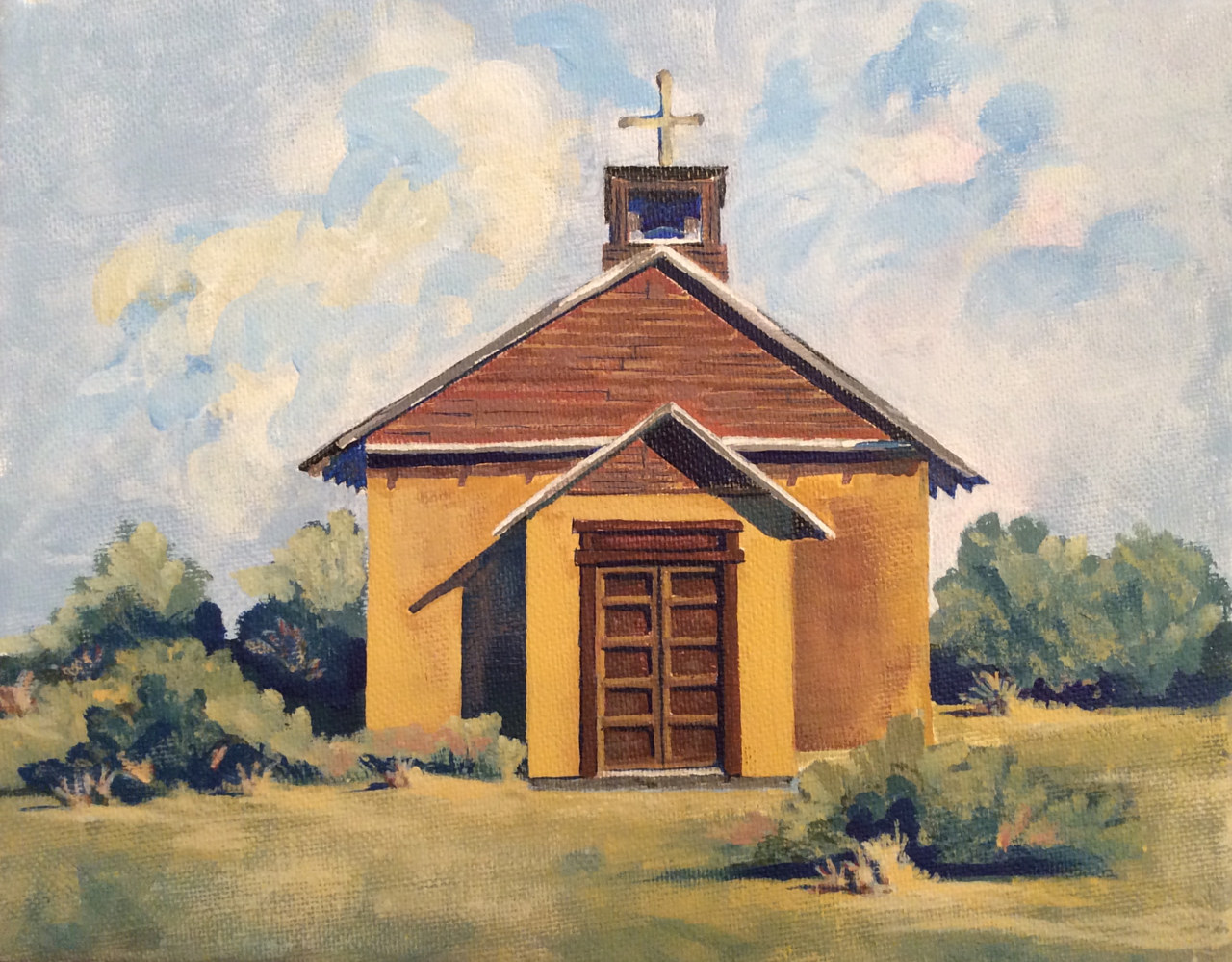 Acrylic painting Old Church, 2014 by Melissa Kenyon Mcintyre