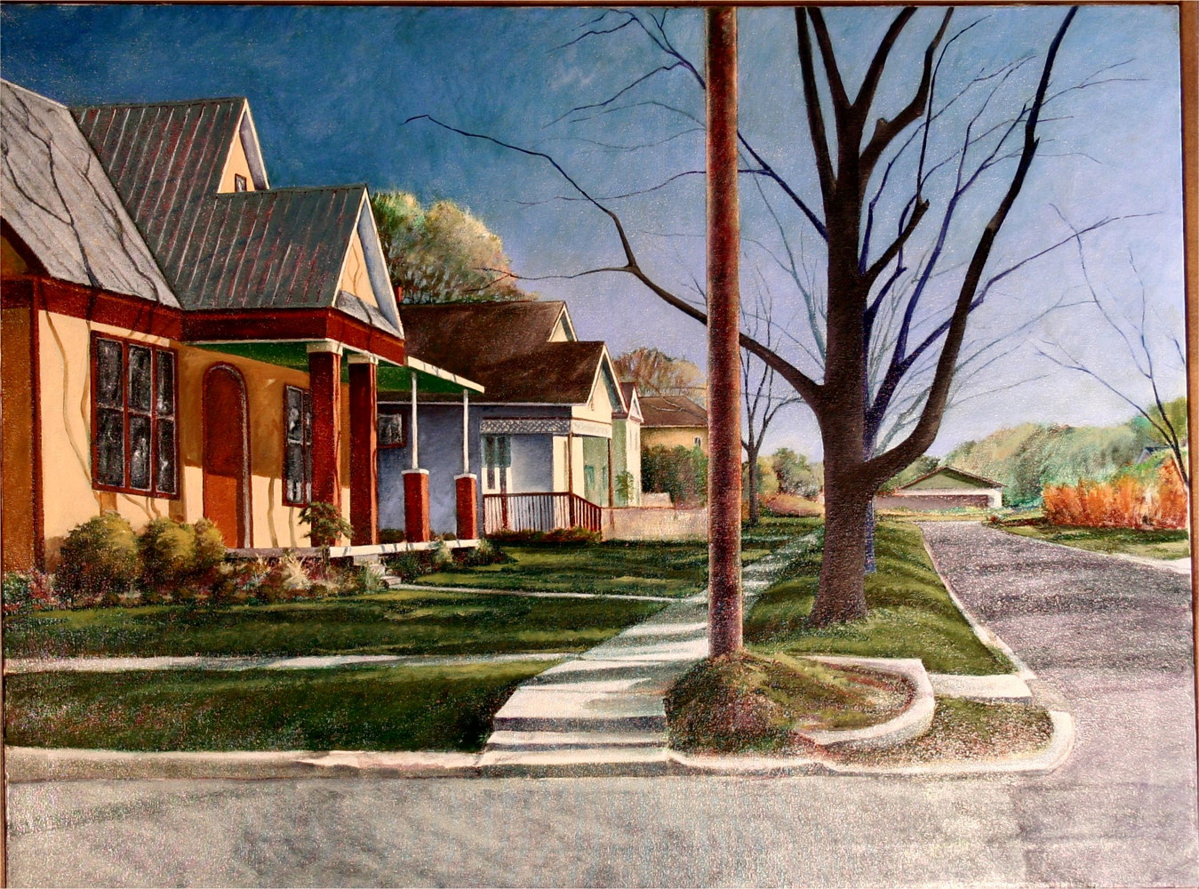 Rock Street Afternoon Georgetown Texas 30x40 by Gary Nowlin