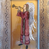 Acrylic painting Angel with Trumpet, Red Robe, 2015 by Melissa Kenyon Mcintyre