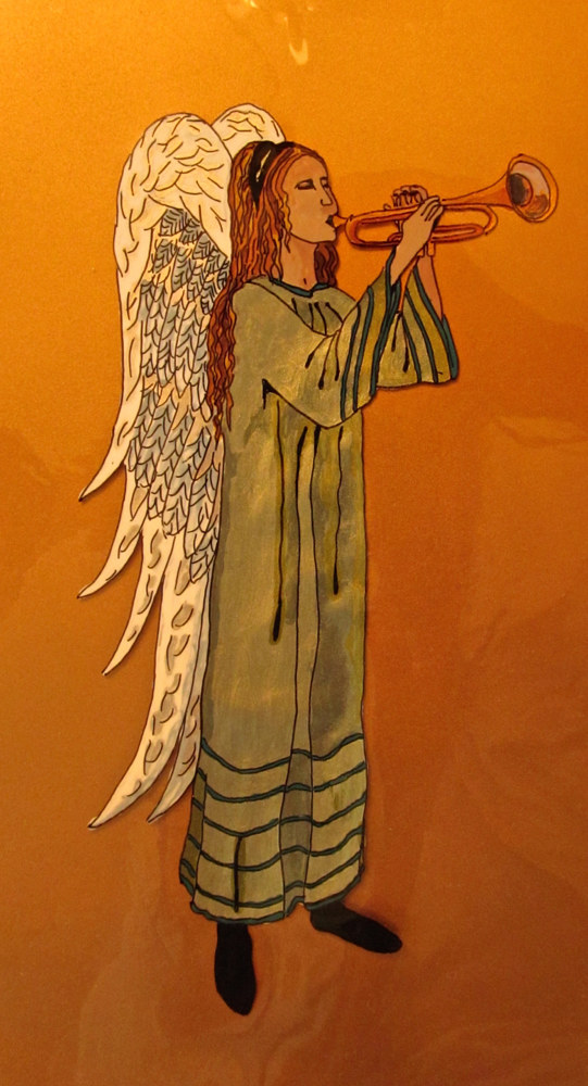 Acrylic painting Angel with Trumpet green robe, 2014 by Melissa Kenyon Mcintyre