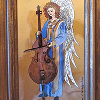 Acrylic painting Angel with Cello, Blue Robe, 2015 by Melissa Kenyon Mcintyre