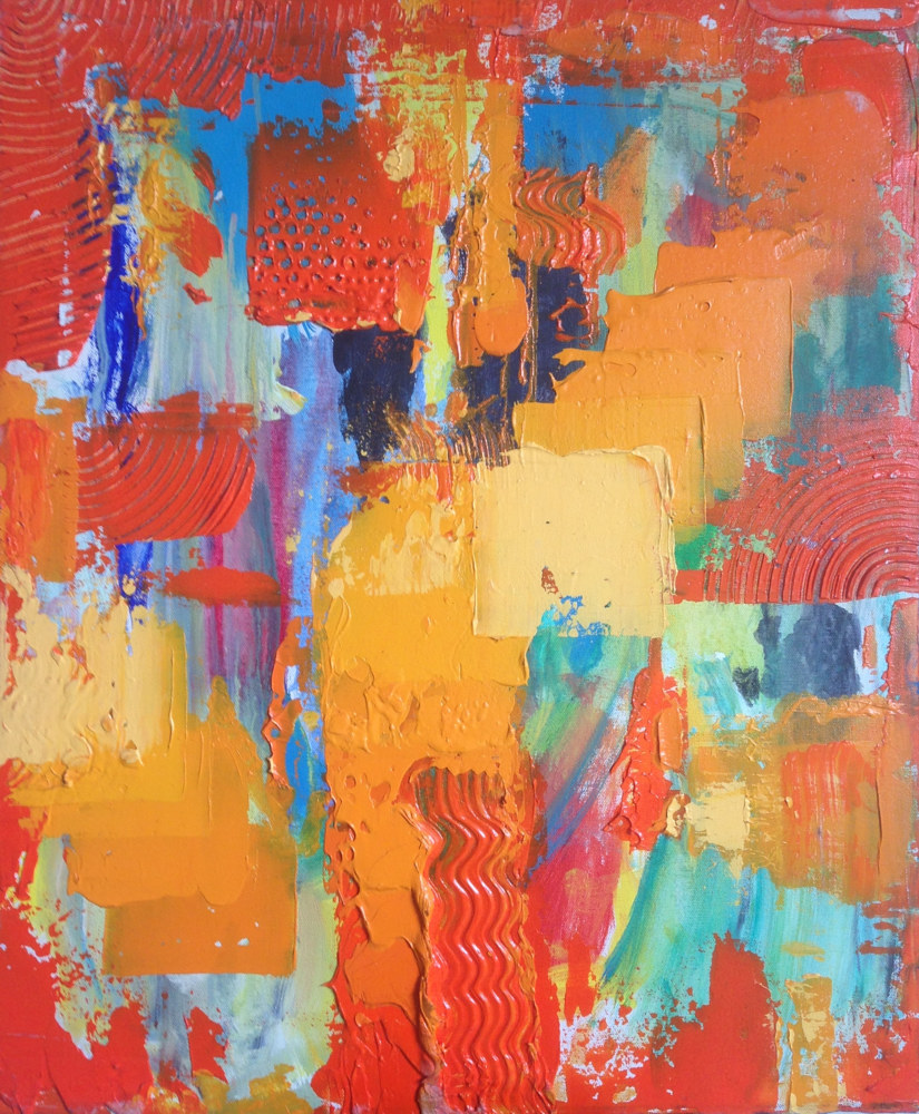 Acrylic painting Orange Abstract Study by Erik Thorkildson