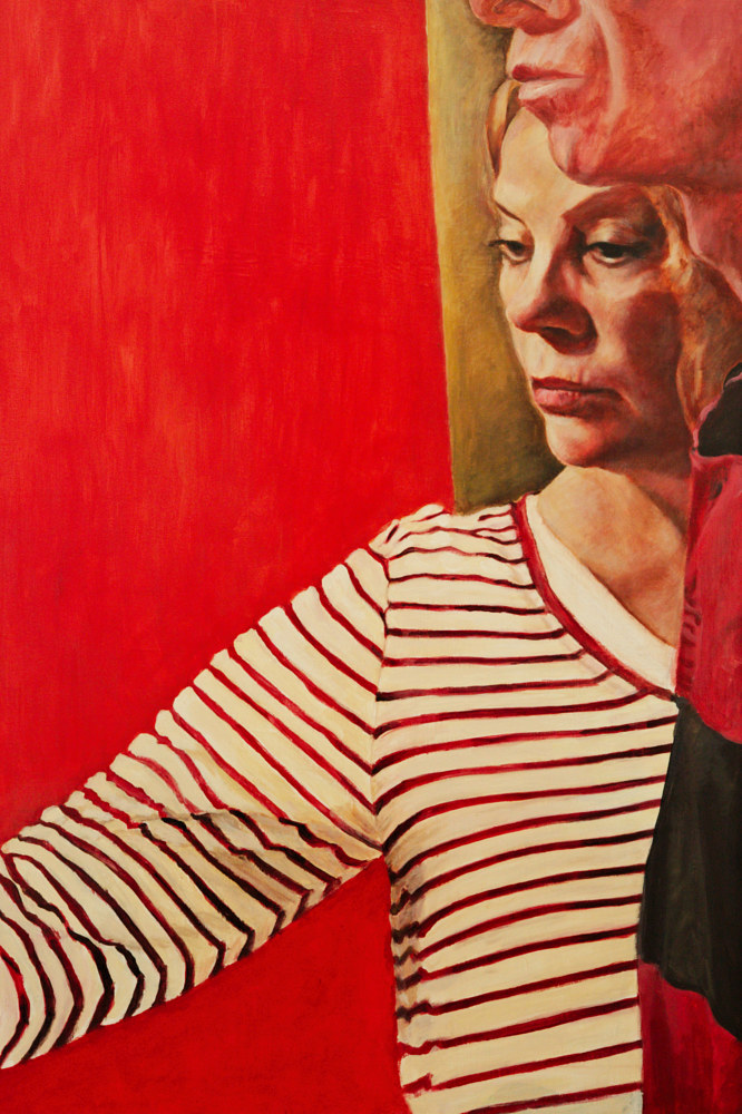 Painting Siblings in Red Stripes by Marc Brisson