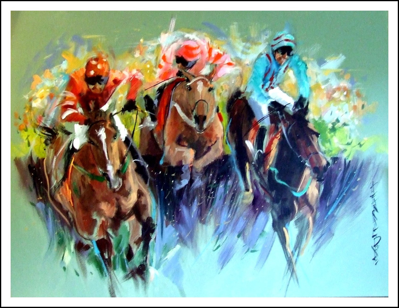 Acrylic painting 1 Birchmasters(Flying High)- by Anne Farrall Doyle