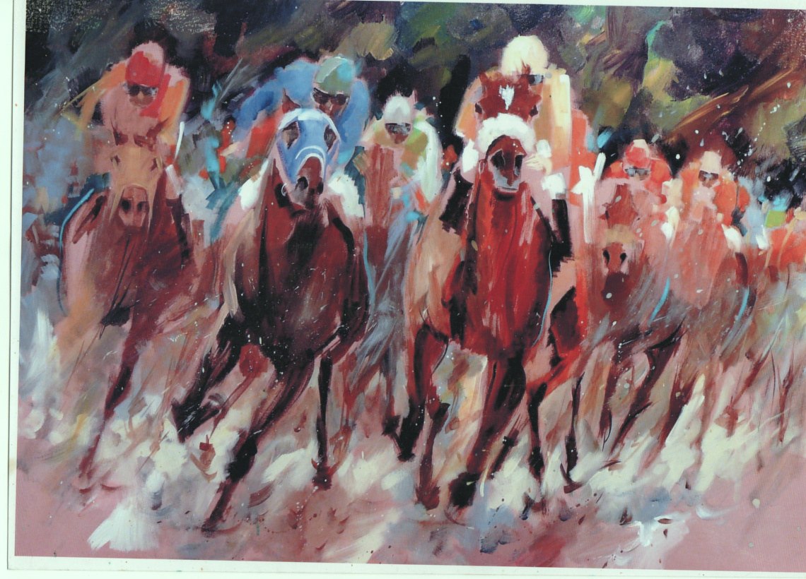 Oil painting Racing by Anne Farrall Doyle