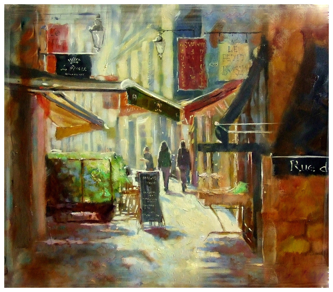 Oil painting Streets of Pontivy  by Anne Farrall Doyle