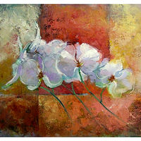 Oil painting Orchids. oil on canvas.  by Anne Farrall Doyle