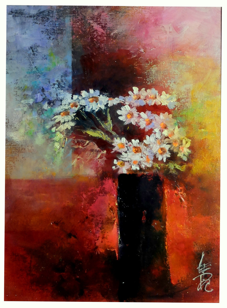 Oil painting Feverfew.  by Anne Farrall Doyle