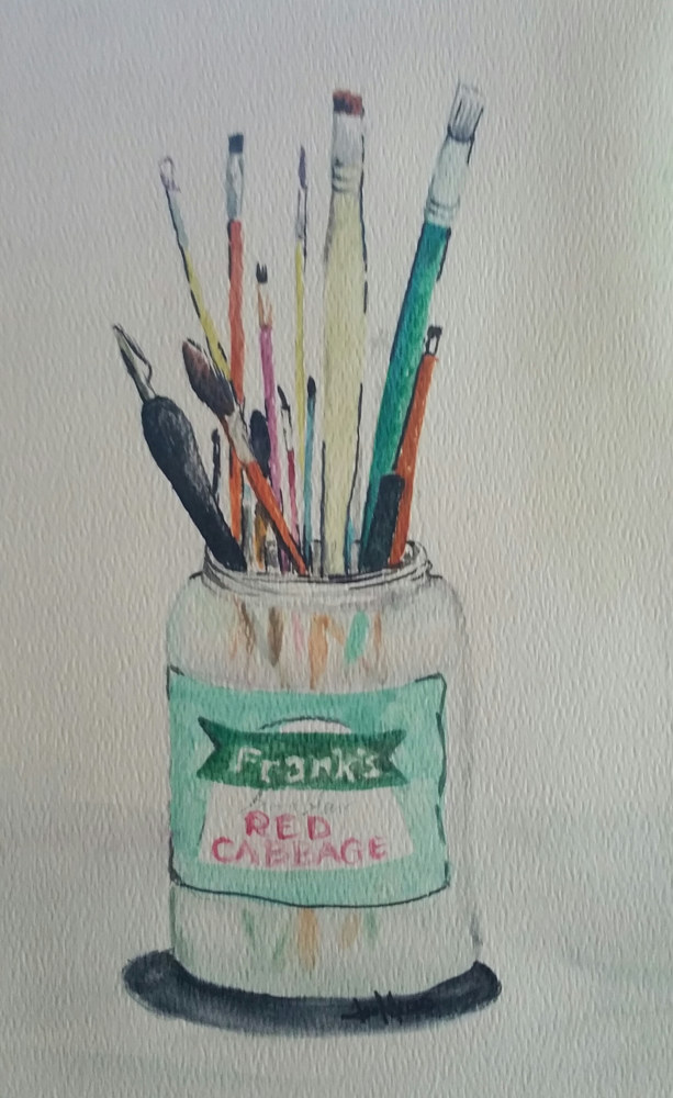 Watercolor Frank's Kraut Jar by Jan Wirth