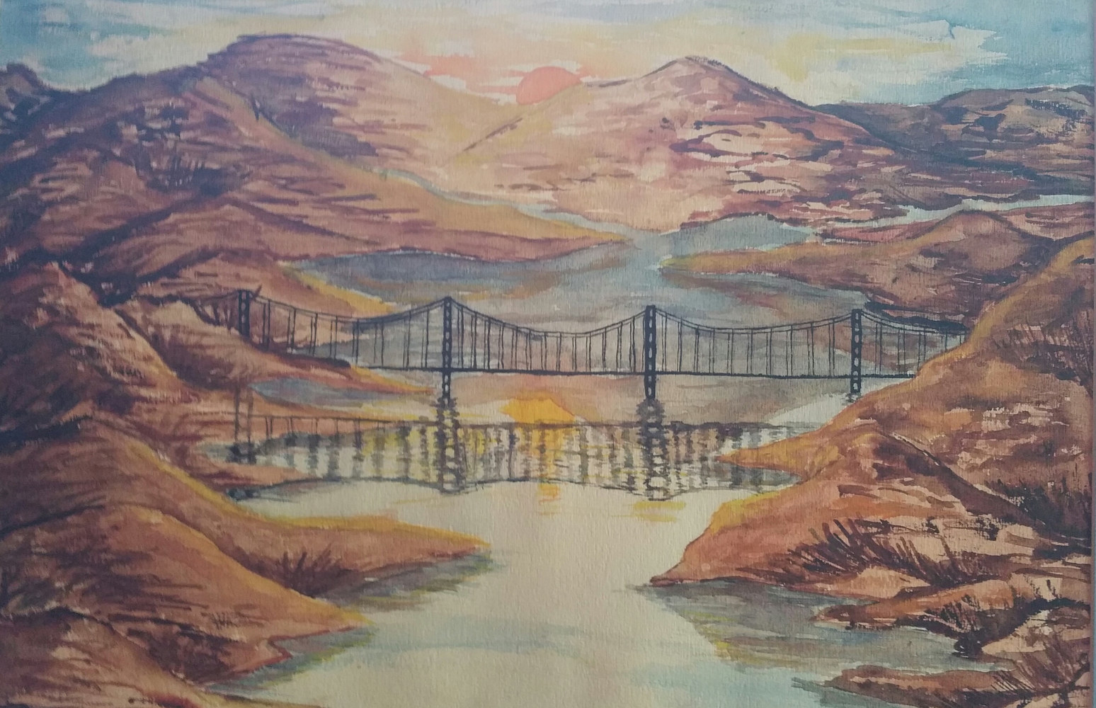 Watercolor Fjords Bridge by Jan Wirth