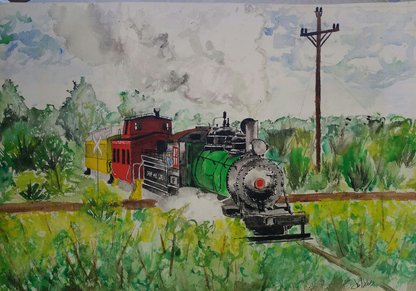 Watercolor Kettle Moraine Train by Jan Wirth