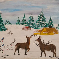 Painting Winter Deer by Jan Wirth