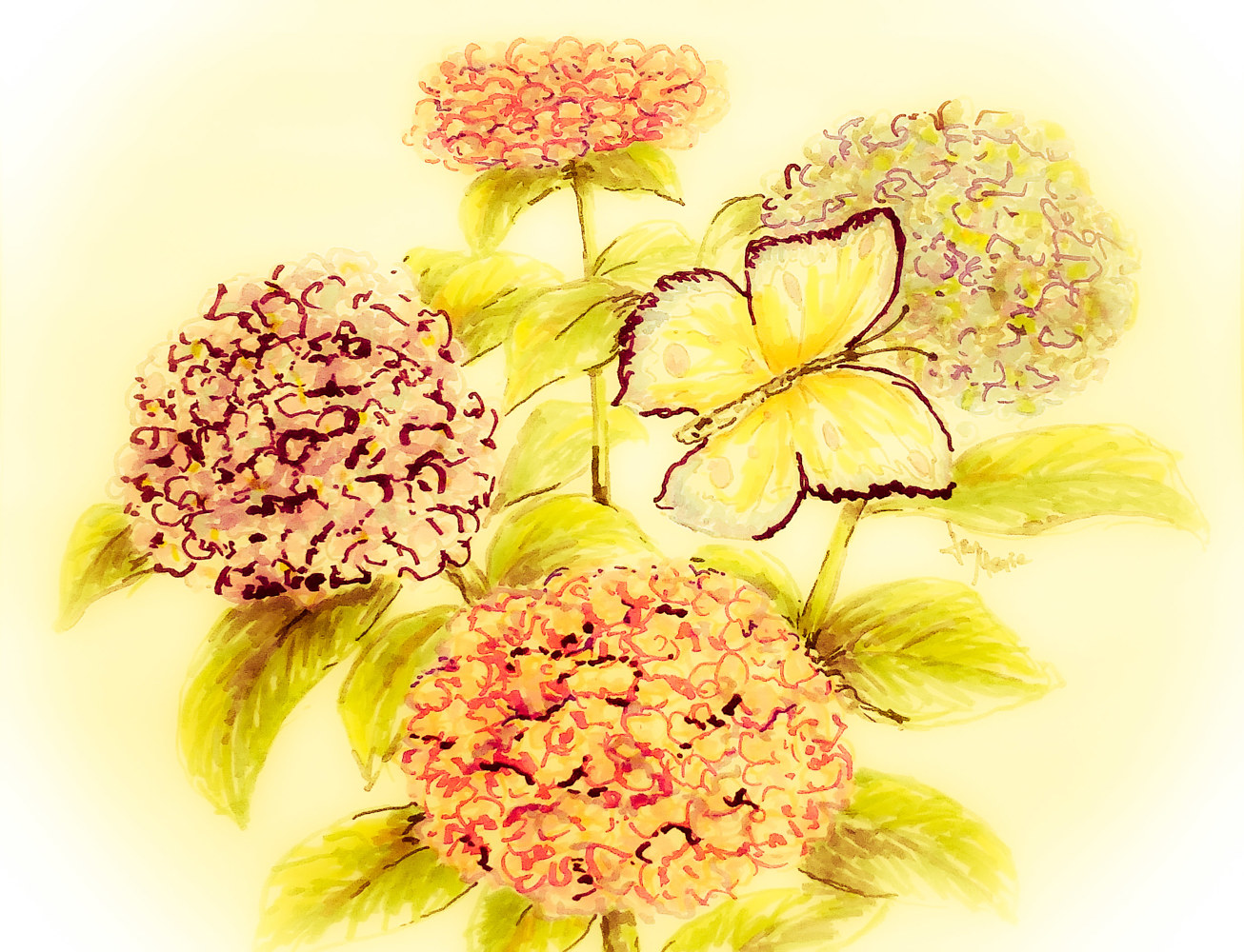 Hydrangeas Fall Version by Jan Wirth