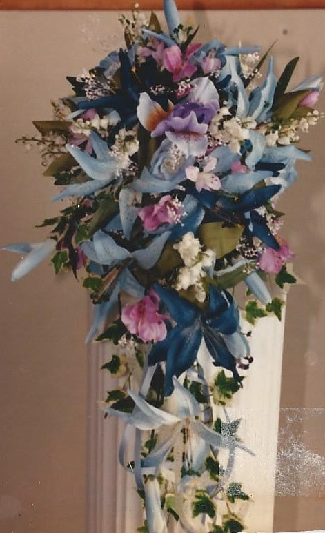 Blue and White Lily and Iris Bridal Bouquet by Jan Wirth