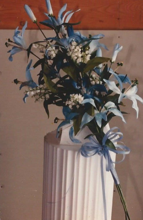 Blue and White Lily Bridesmaid by Jan Wirth