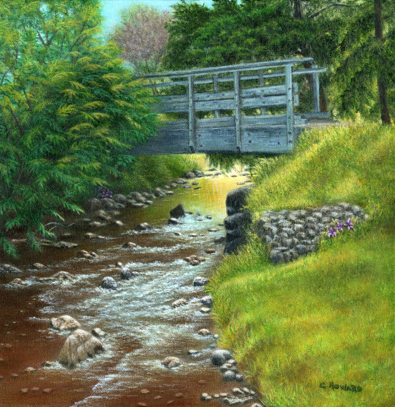 Acrylic painting Mill Creek Summer  by Catherine Howard