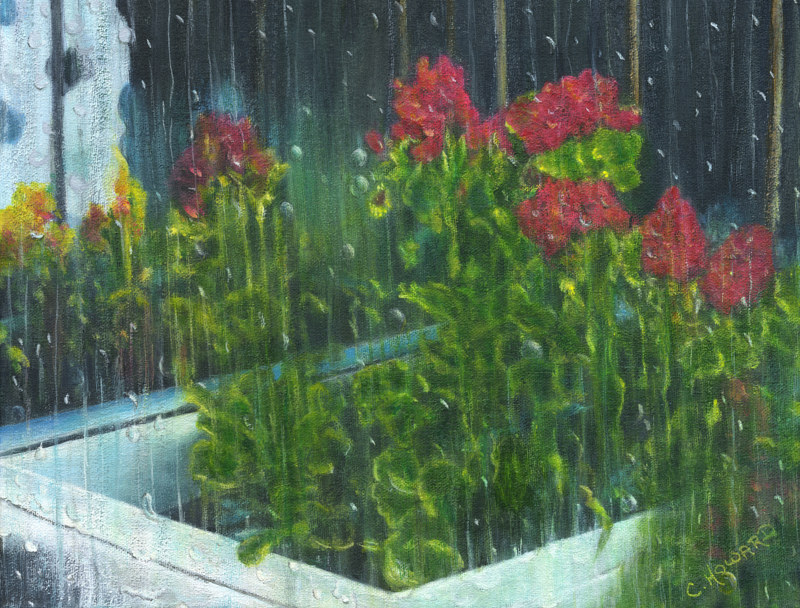 Acrylic painting  It Must Be Raindrops  by Catherine Howard