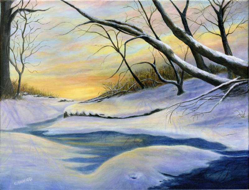 Acrylic painting Mill Creek Winter  by Catherine Howard