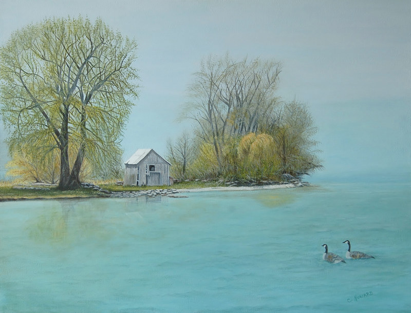 Acrylic painting Wolfe Island Morning Mist by Catherine Howard