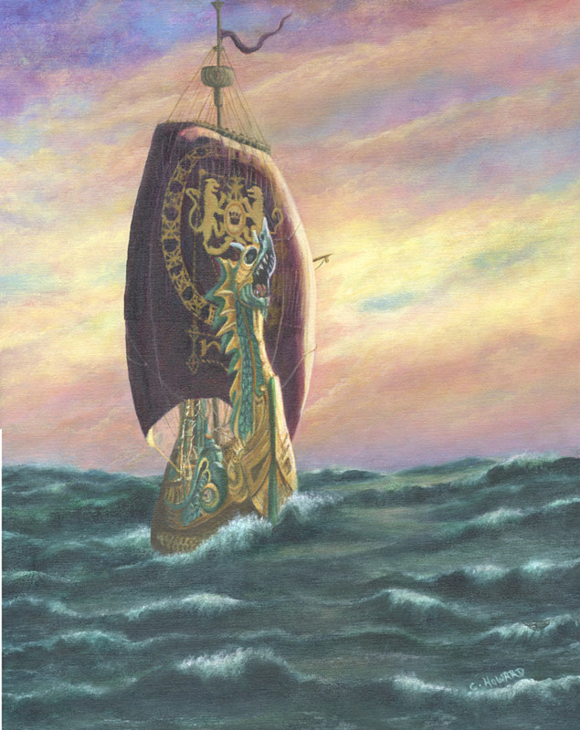 Acrylic painting The Dawn Treader - Riding the Waves  by Catherine Howard