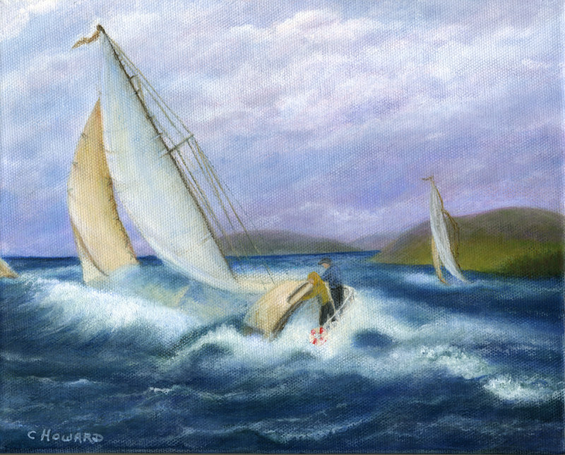Acrylic painting Rough Water Sailing - Kingston, Ontario  by Catherine Howard