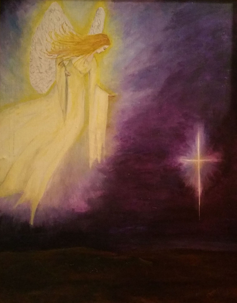 Acrylic painting Christmas Angel by Jan Wirth