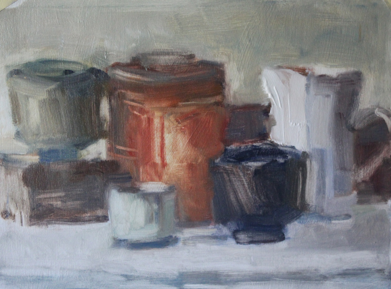 Oil painting Still Life With Red Tobacco Can, oil on paper, by Susan Horn