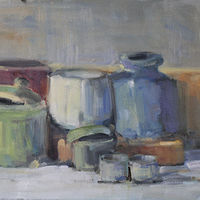 Still Life With Blue Vase, oil on canvas,  by Susan Horn
