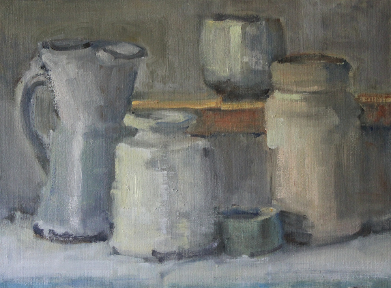 "Oil painting White Jars, oil on board, 12""x16"" by Susan Horn"