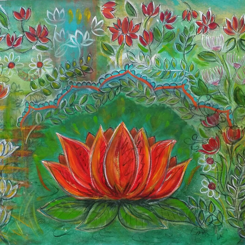 Oil painting Rising Lotus by Carolyn Trotter