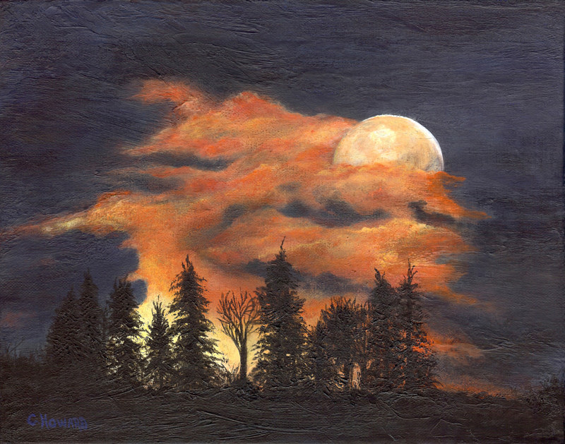 Acrylic painting Moon Rise Love Song  by Catherine Howard