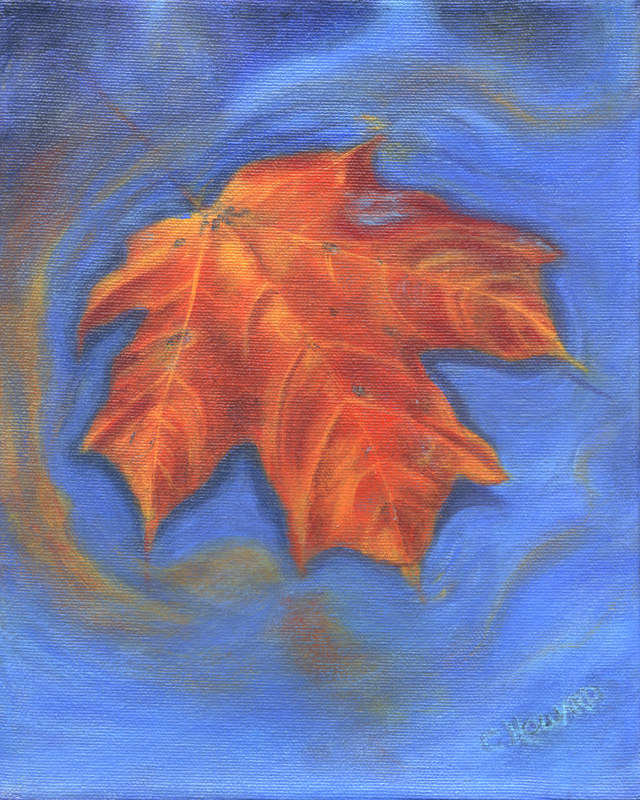 Acrylic painting The Lonely Leaf  by Catherine Howard