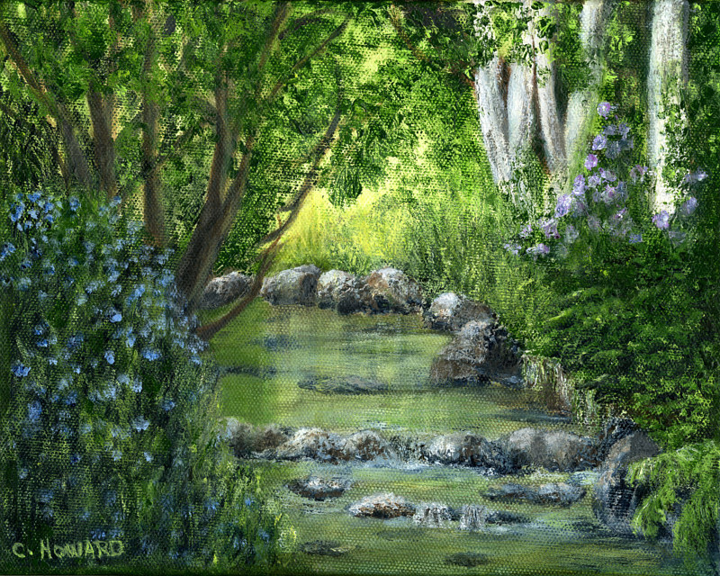 Acrylic painting Mill Creek Spring  by Catherine Howard