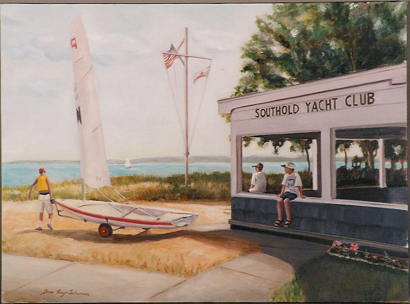 Oil painting Southold Yacht club by June Long-schuman