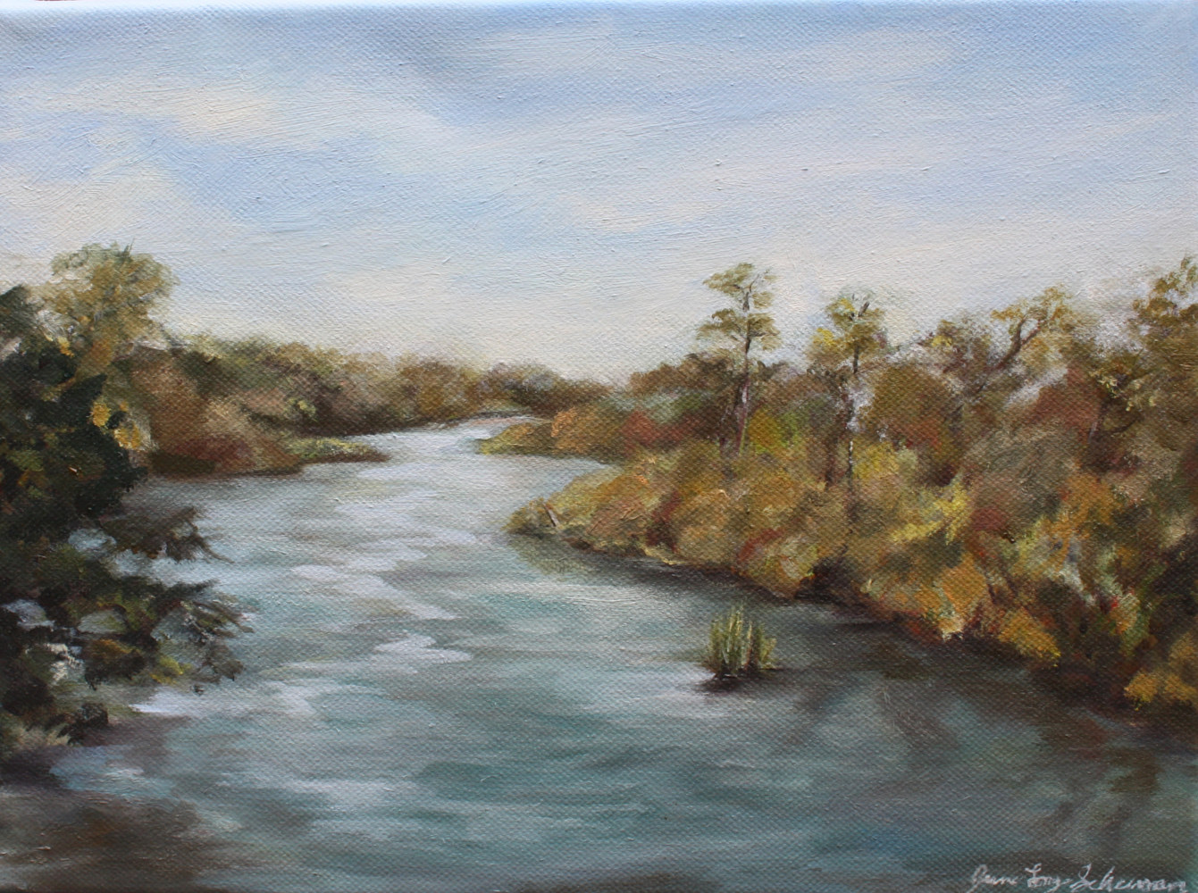 Oil painting Carmen's River by June Long-schuman