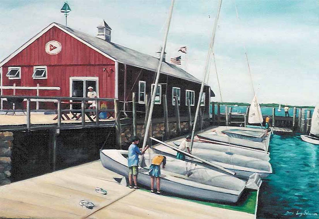 Oil painting Orient Point Yacht Club by June Long-schuman