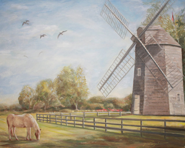 Oil painting East Hampton Windmill   by June Long-schuman