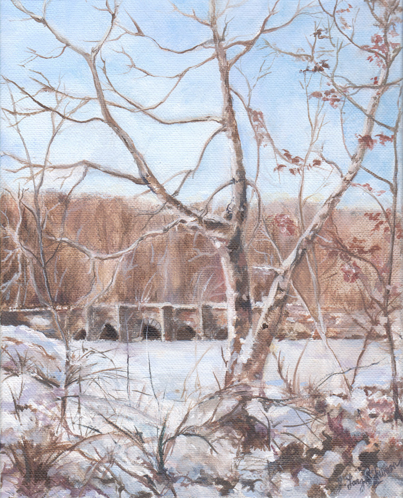 Oil painting Winter scene 2010 by June Long-schuman
