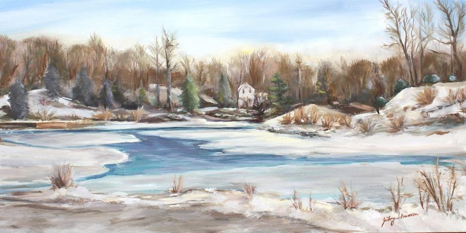 Oil painting Stony Brook in Winter by June Long-schuman