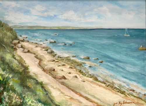 Oil painting Birch-Hill-Shore by June Long-schuman