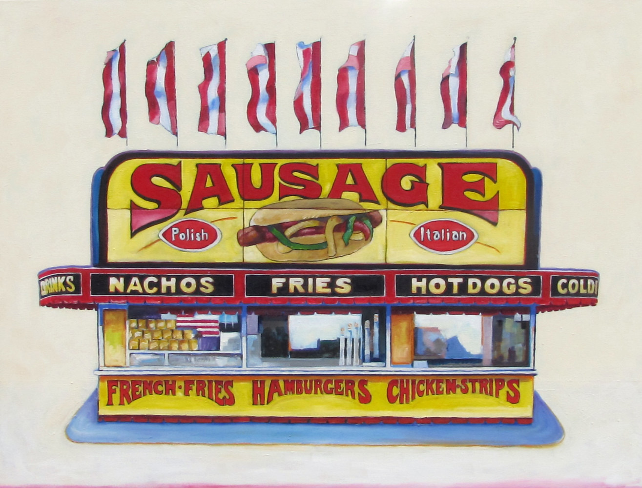 Oil painting Sausage Stand by Paul Sershon