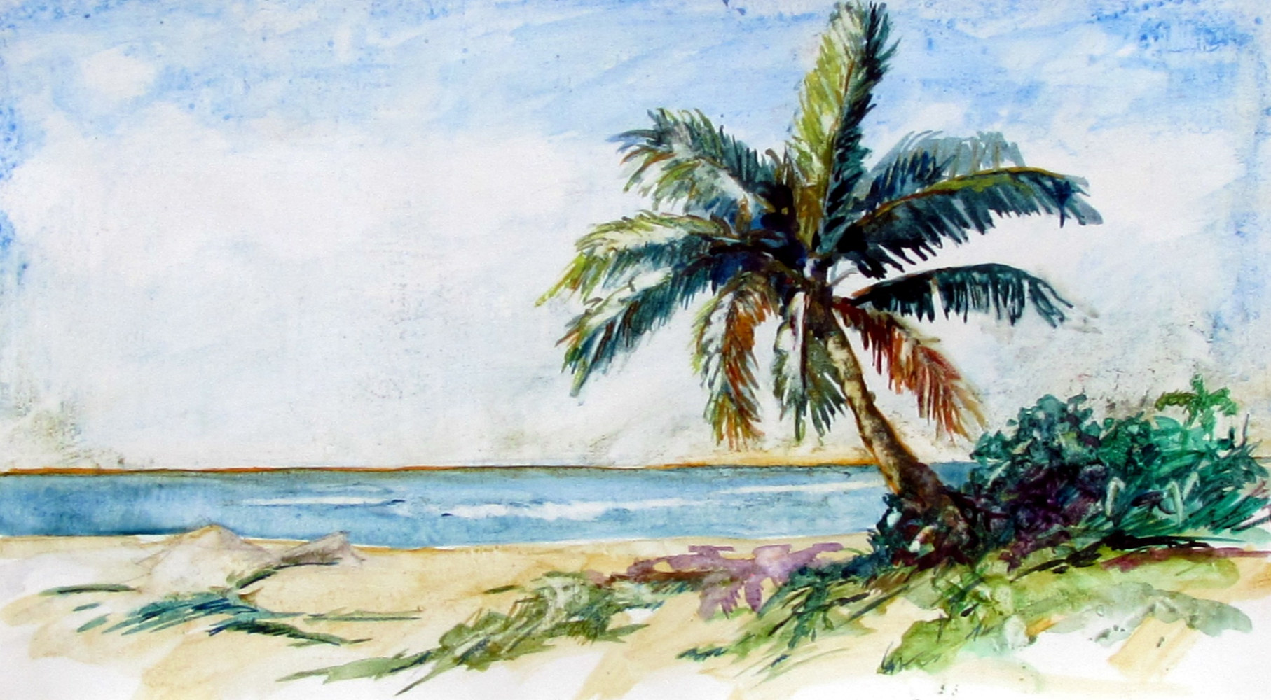 Watercolor A Beach in the Keys by Paul Sershon