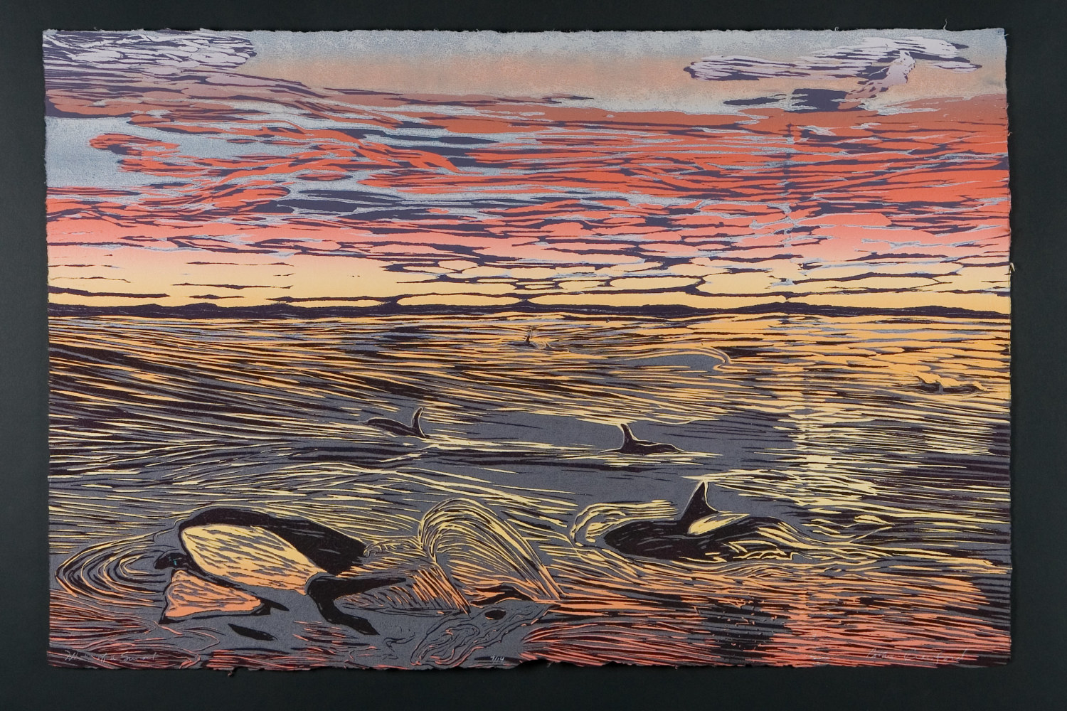 "Print Whale of a Sunset (24""X36"") by Cathie Crawford"
