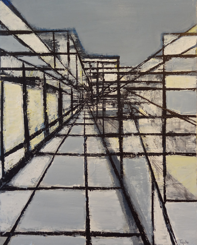 Acrylic painting Urban Composition #6 by David Tycho