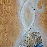 Oil painting Sacred Work by Sarah Peschell