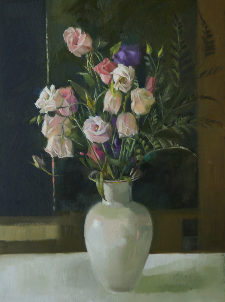 Oil painting Flowers with White Vase by Eunice Sim
