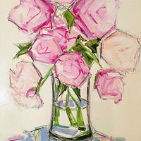 Oil painting Peonies IV by Sarah Trundle