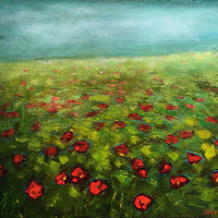 Acrylic painting Sea of Poppies by Sally Adams