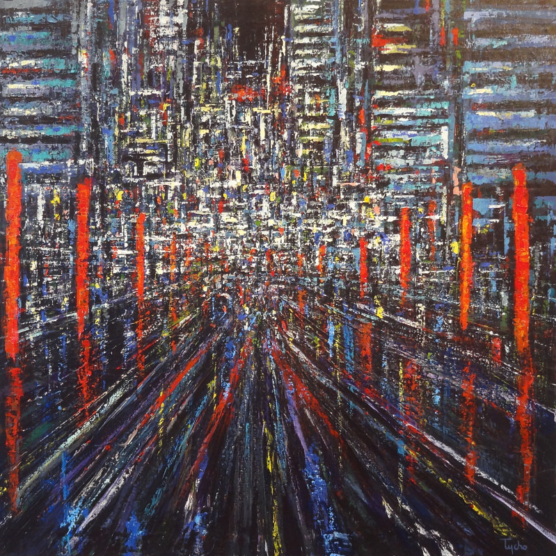 Acrylic painting Urban Rhythms: Ode to Tokyo by David Tycho