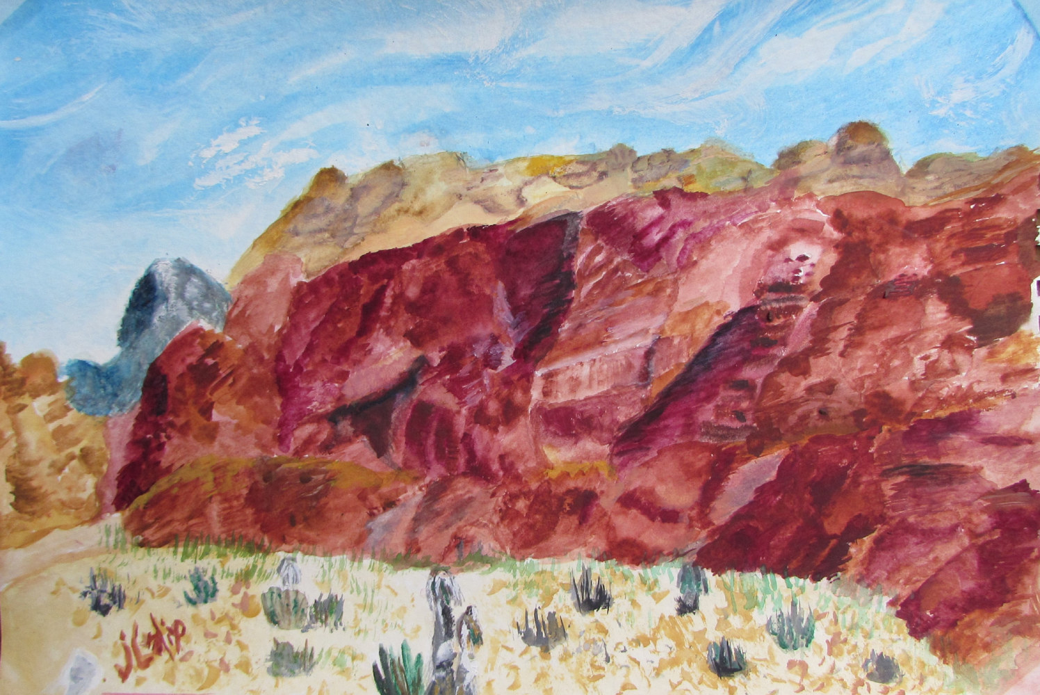 Watercolor Red Rock Canyon, Las Vegas by Jasmine Calix